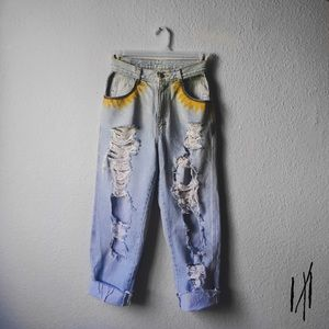 Pants - Hand Painted Distressed Sunflower High Waist Jeans